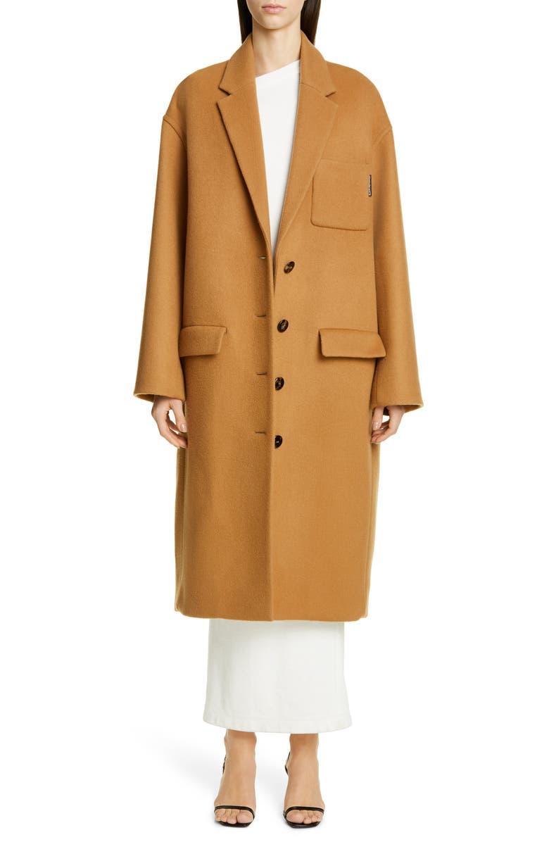 ALEXANDER WANG Oversize Drop Shoulder Wool Coat, Main, color, CAMEL