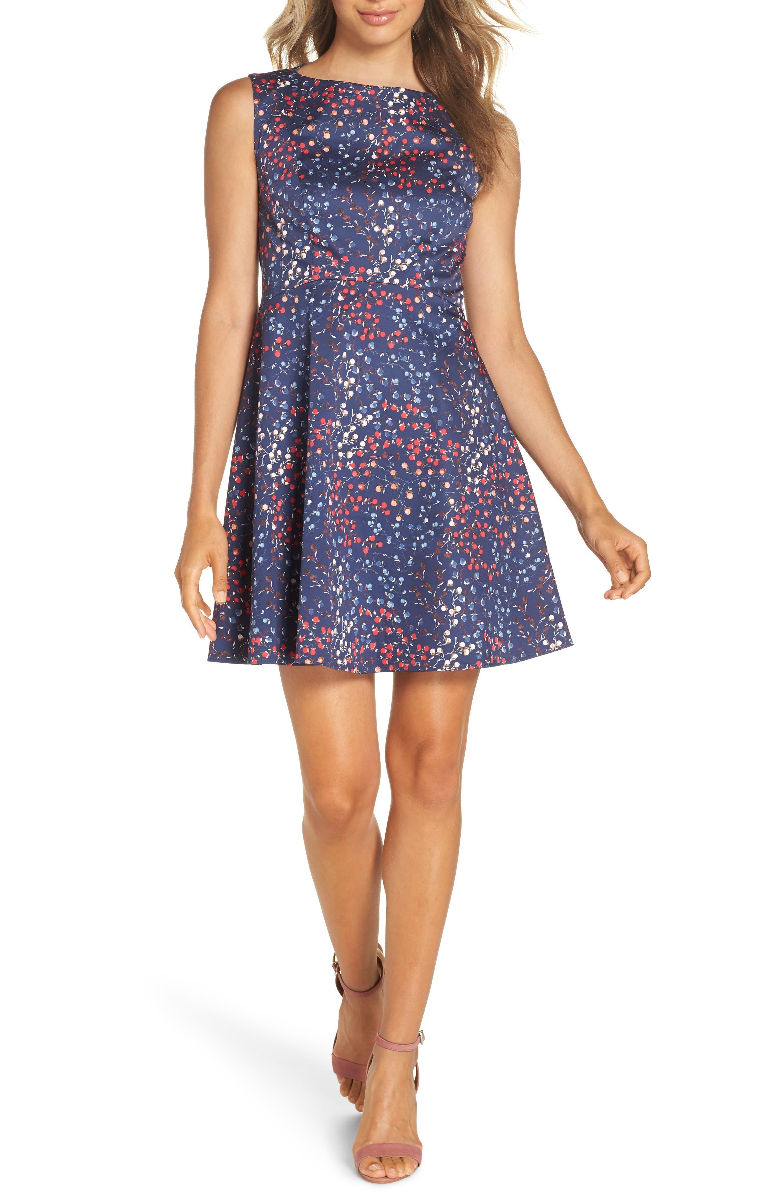 French Connection Frances Cotton Dress, Blue