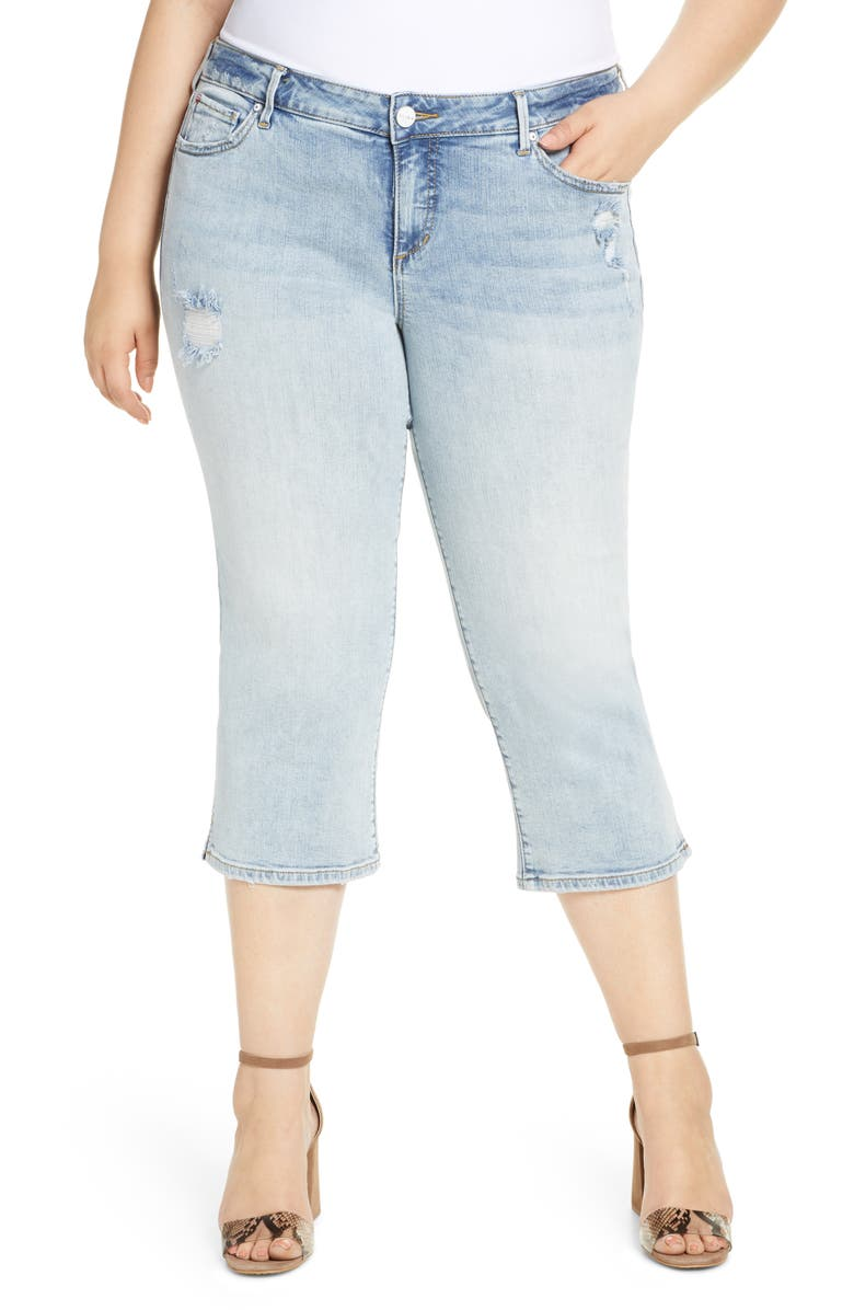 SLINK JEANS Distressed Crop Straight Leg Jeans, Main, color, LOUISE