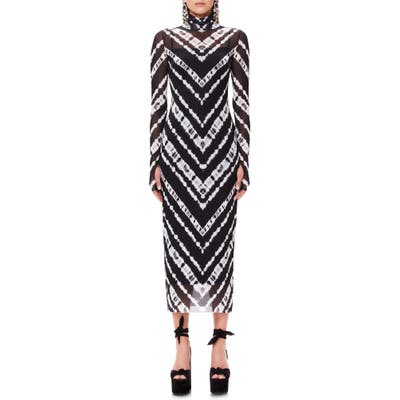 Afrm Shailene Long Sleeve Print Mesh Dress, Black