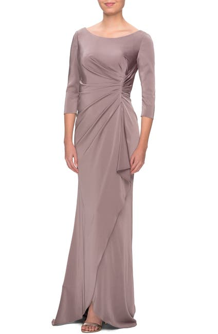 Image of La Femme Ruched Trumpet Gown