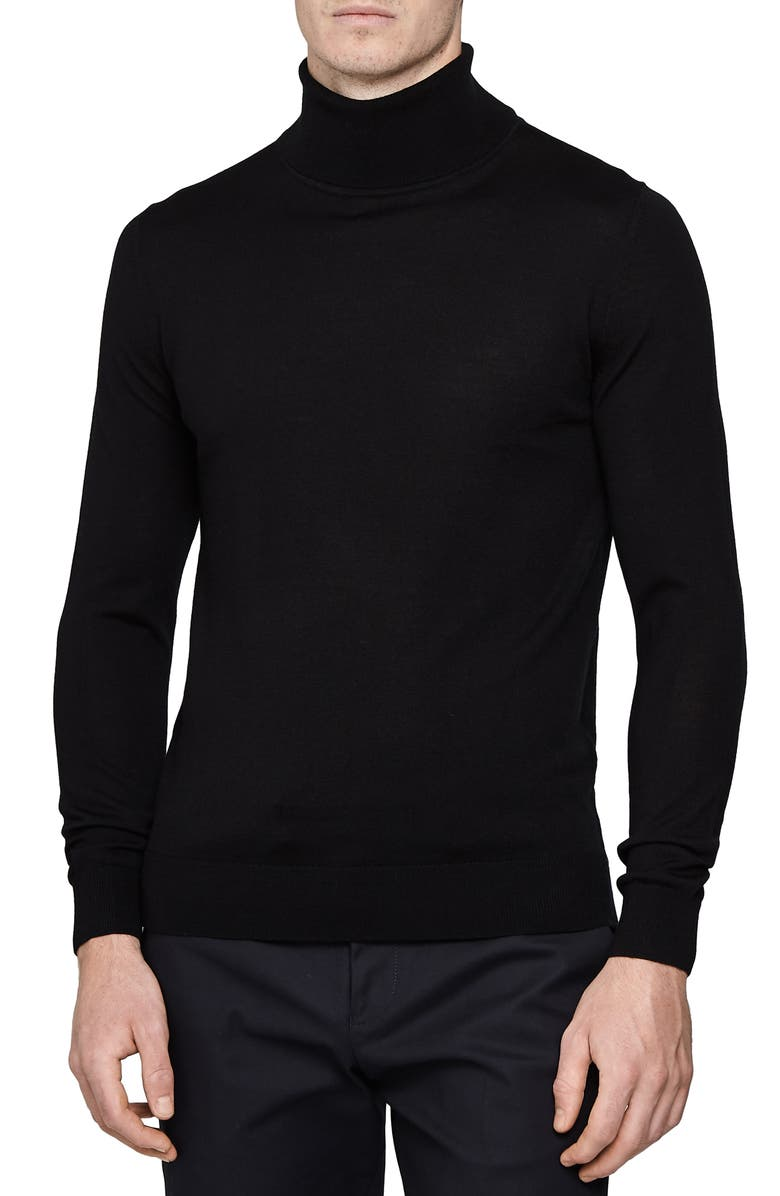 REISS Caine Slim Fit Turtleneck Wool Sweater, Main, color, BLACK