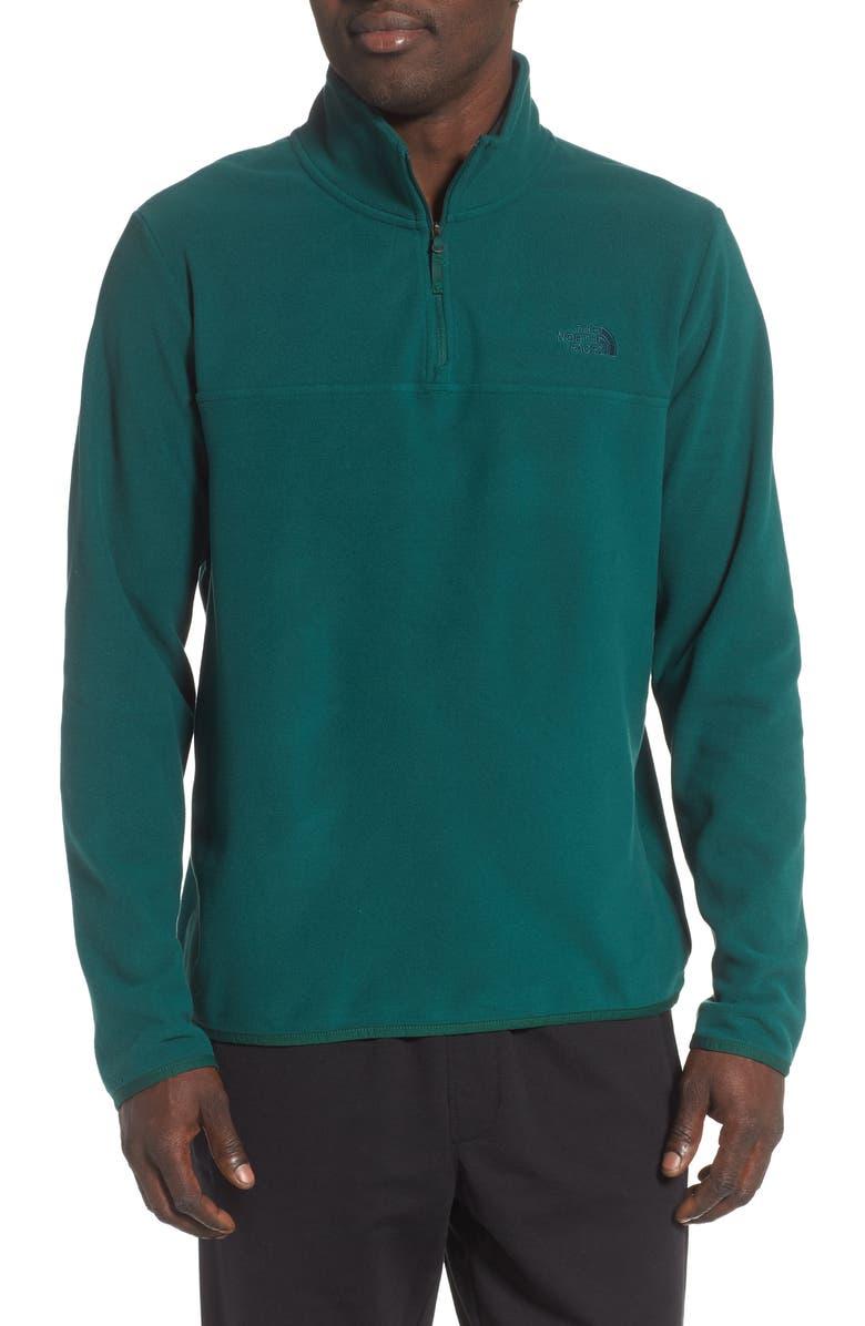 THE NORTH FACE TKA Glacier Quarter Zip Fleece Pullover, Main, color, NIGHT GREEN/ NIGHT GREEN