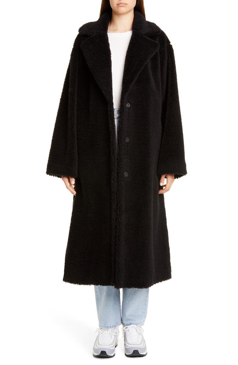 STAND STUDIO Maria Long Teddy Faux Fur Coat, Main, color, BLACK