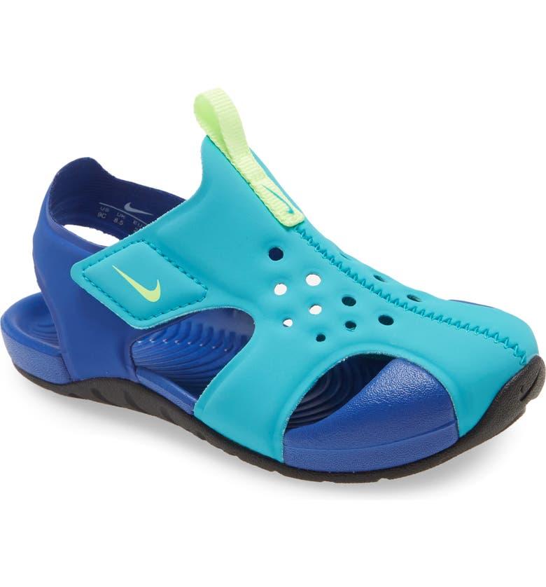 NIKE Sunray Protect 2 Sandal, Main, color, AQUA/ GREEN-HYPER BLUE-BLACK