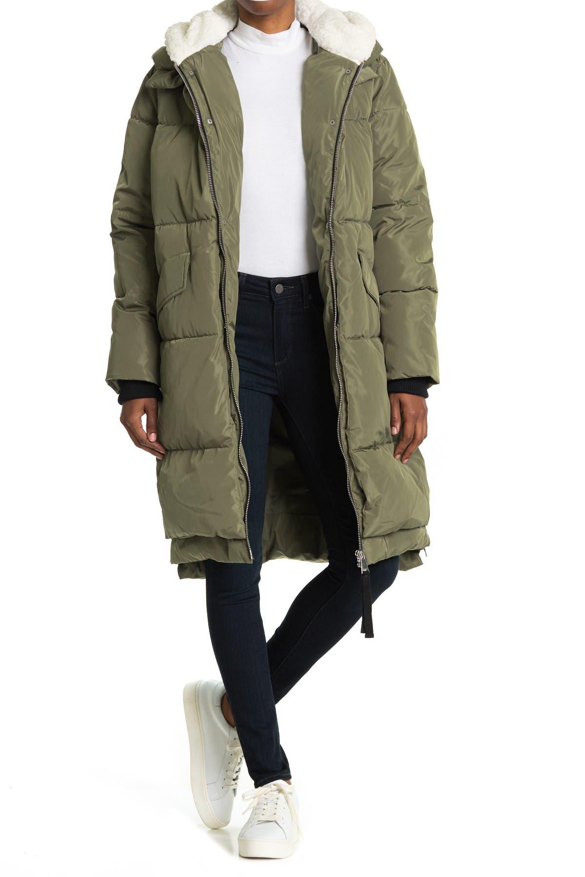 Image of Bagatelle Faux Shearling Long Parka Jacket