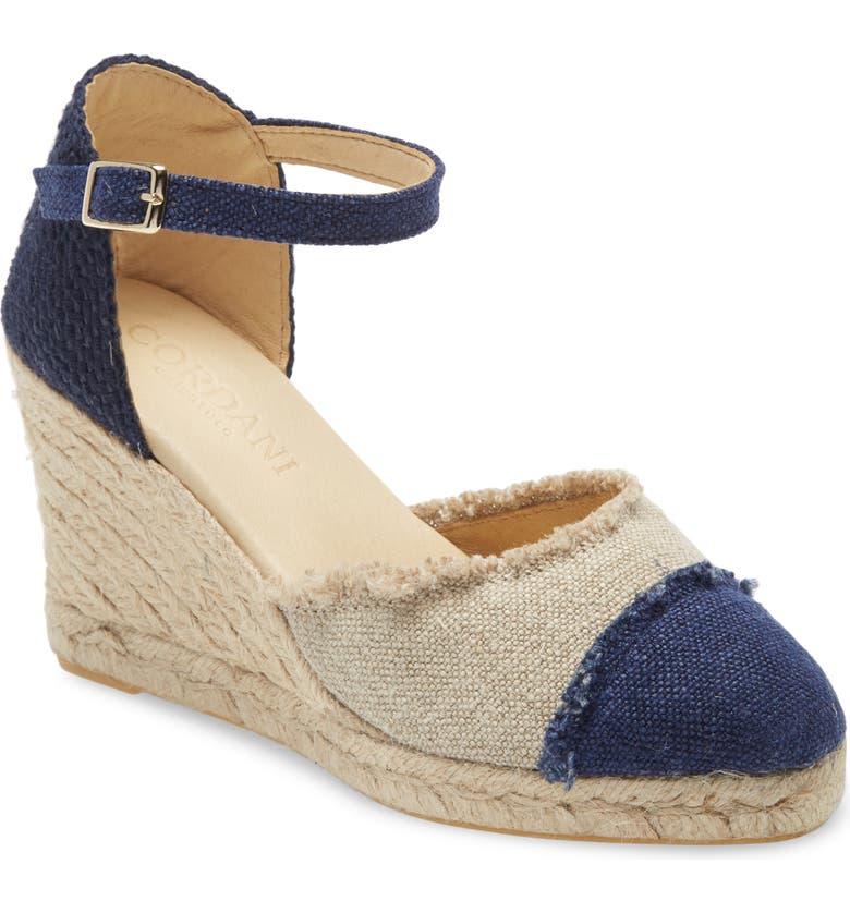 CORDANI Erma Platform Wedge Sandal, Main, color, NAVY FABRIC