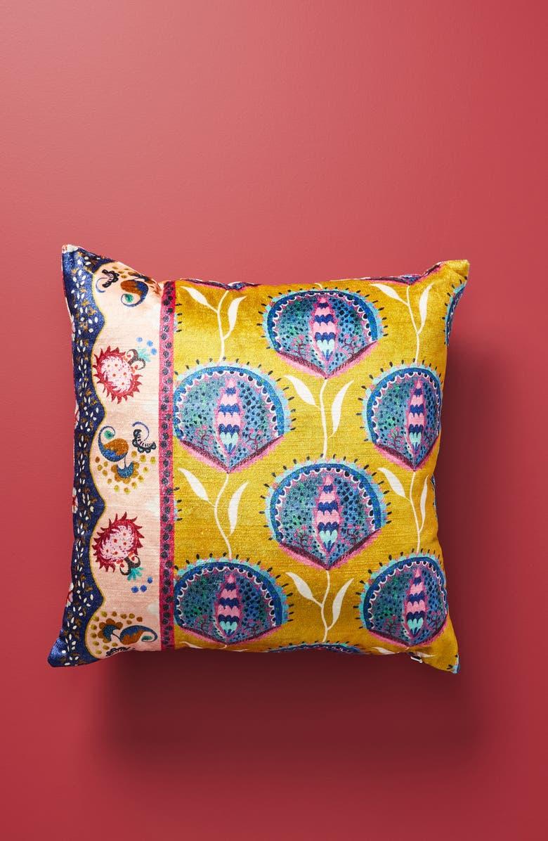 ANTHROPOLOGIE Delissa Velveteen Accent Pillow, Main, color, FREESIA