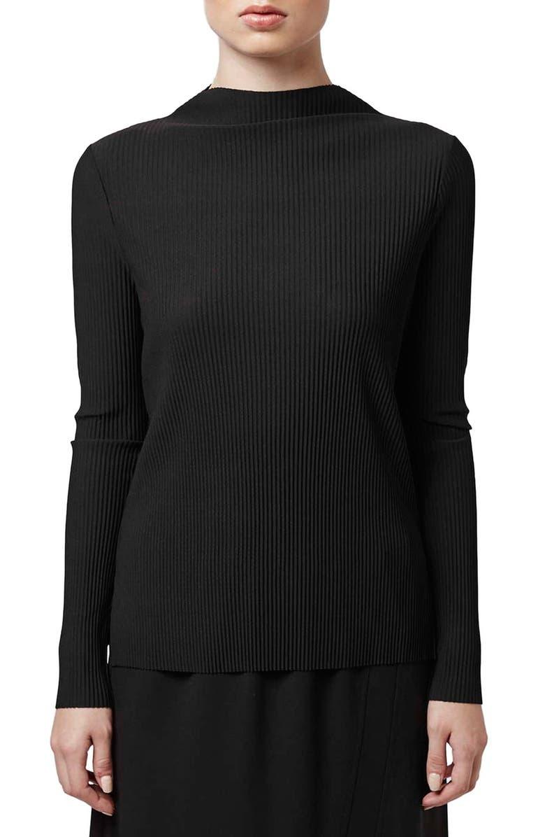 TOPSHOP BOUTIQUE 'Tiny Pleat' Long Sleeve Top, Main, color, 001