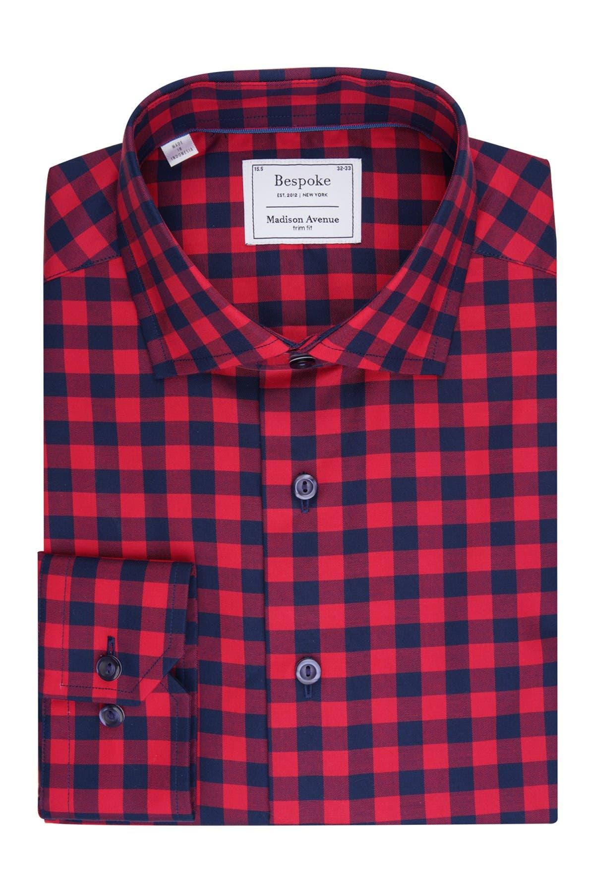 Image of Bespoke Red Buffalo Plaid Dress Shirt