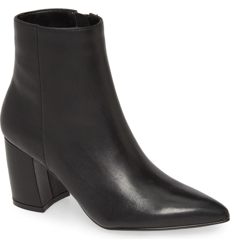 STEVE MADDEN Nadalie Pointed Toe Bootie, Main, color, BLACK LEATHER