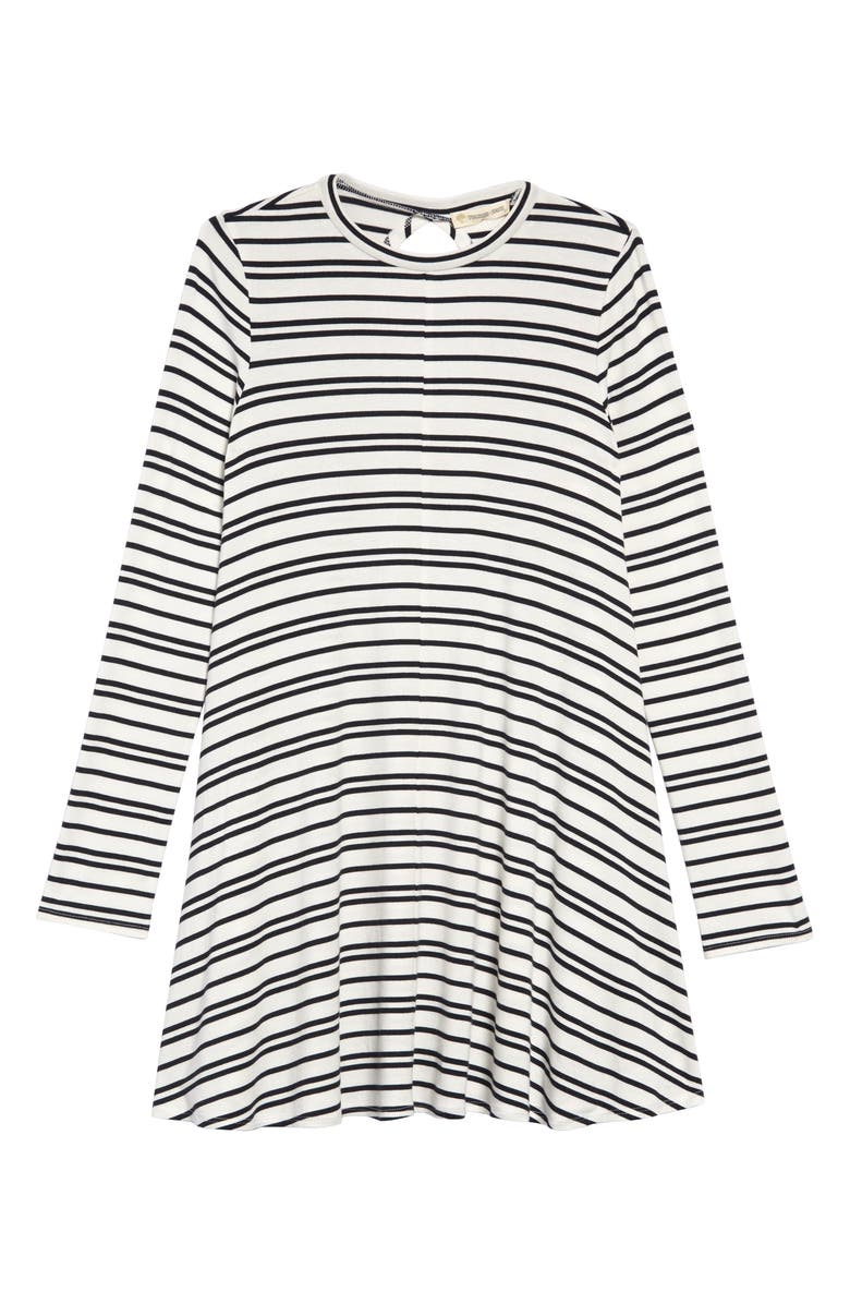 TUCKER + TATE Knit A-Line Dress, Main, color, IVORY EGRET- BLACK STRIPE