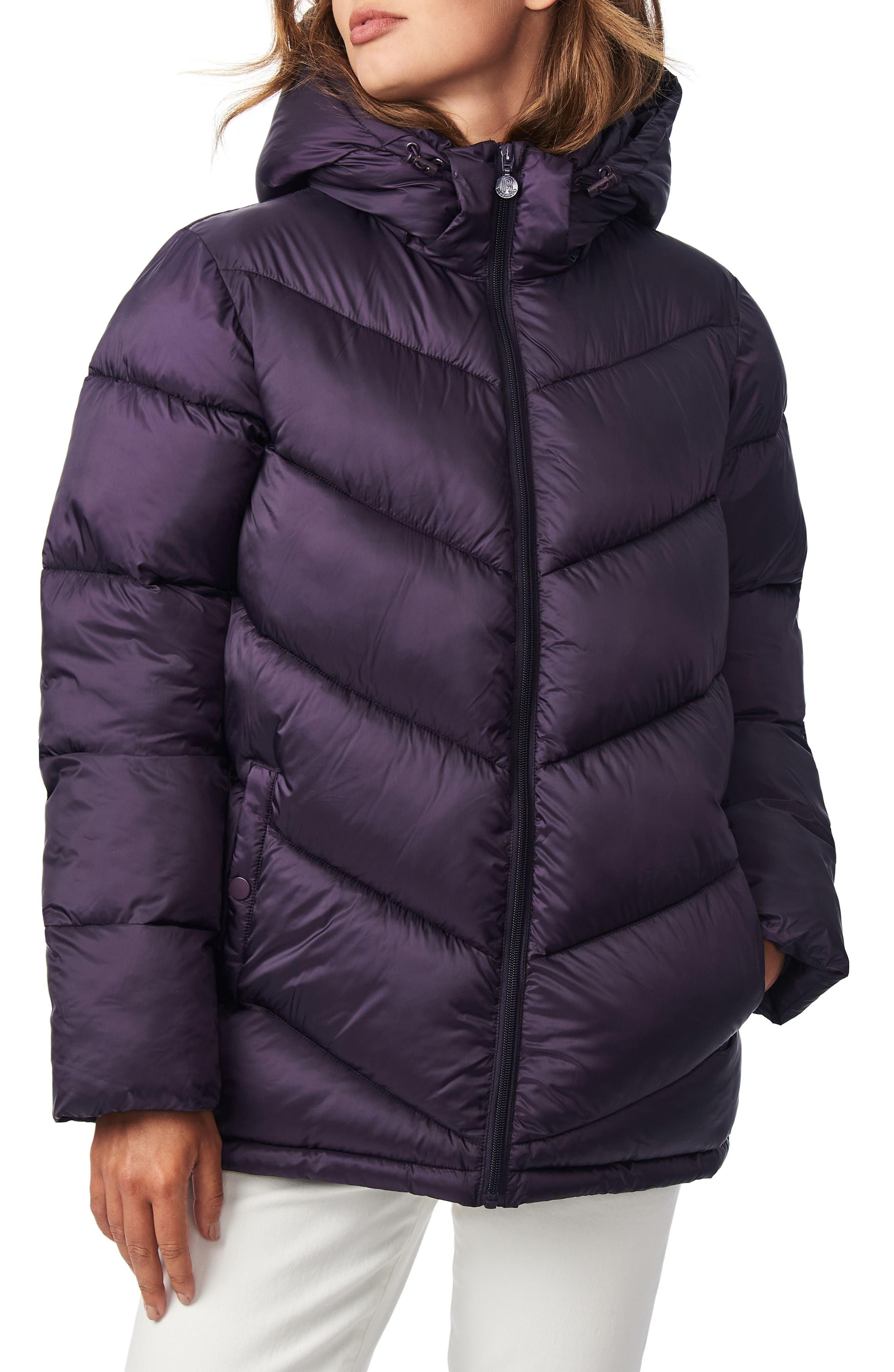 Chevron Quilted Water Resistant Puffer Coat