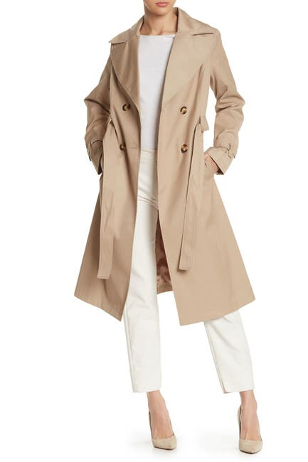 Image of Via Spiga Double Breasted Water Repellent Trench Coat