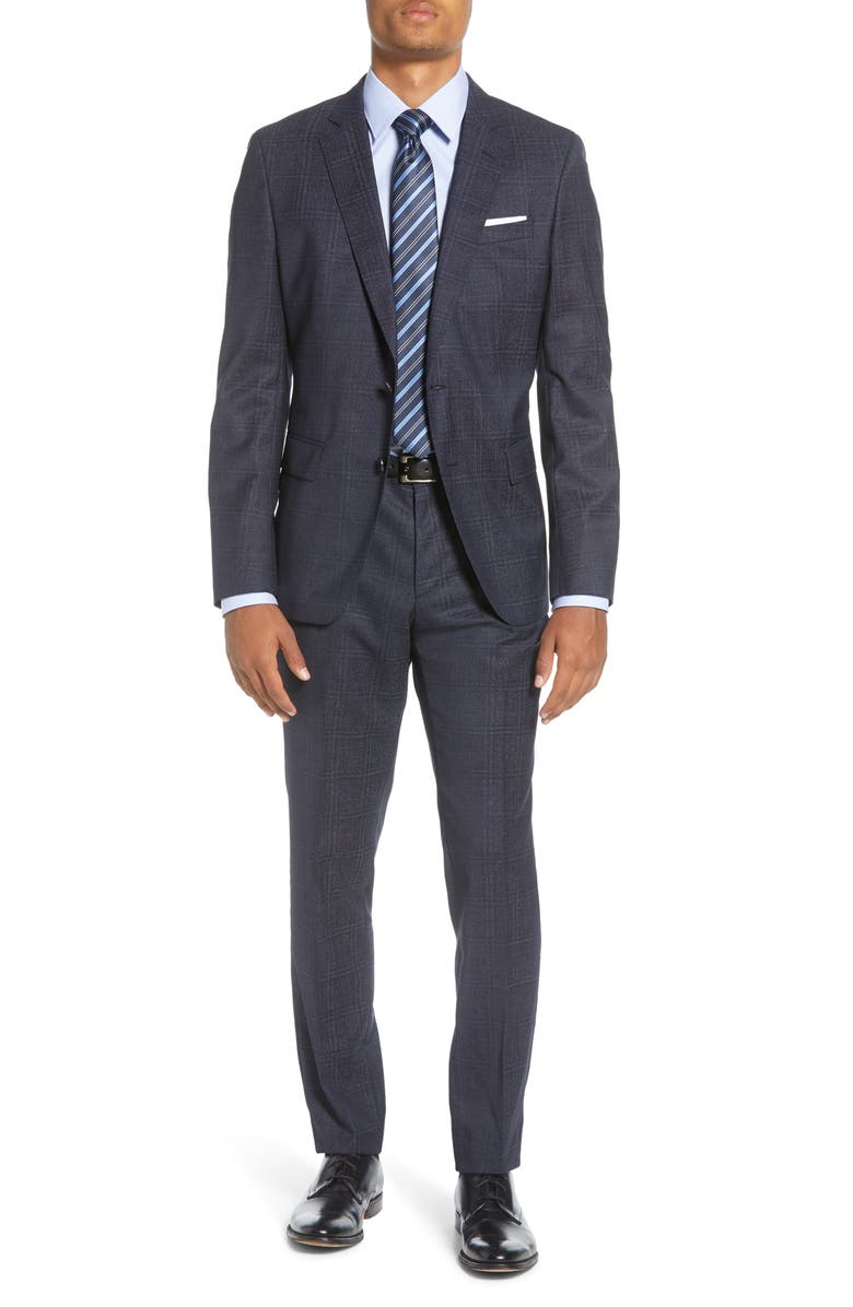 BOSS Huge/Genius Trim Fit Plaid Wool Suit, Main, color, DARK BLUE