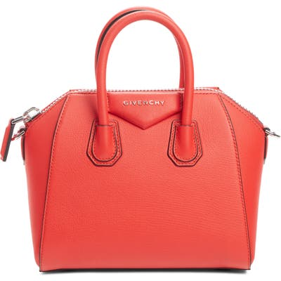 Givenchy Mini Antigona Sugar Leather Satchel - Red