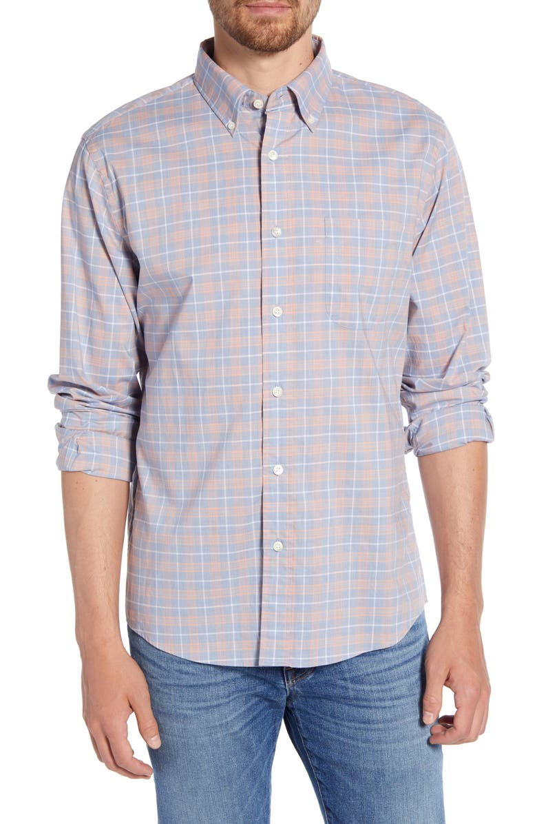 FAHERTY Regular Fit Plaid Stretch Poplin Button-Down Sport Shirt, Main, color, DUSTY CORAL PLAID