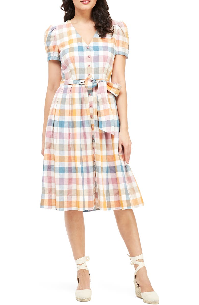 GAL MEETS GLAM COLLECTION Poppy Button Down Shirtdress, Main, color, 100
