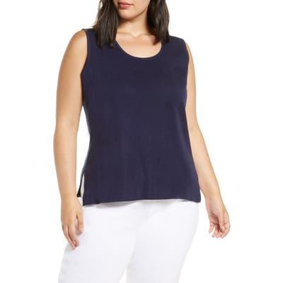 Plus Size Ming Wang Scoop Neck Knit Tank, Blue
