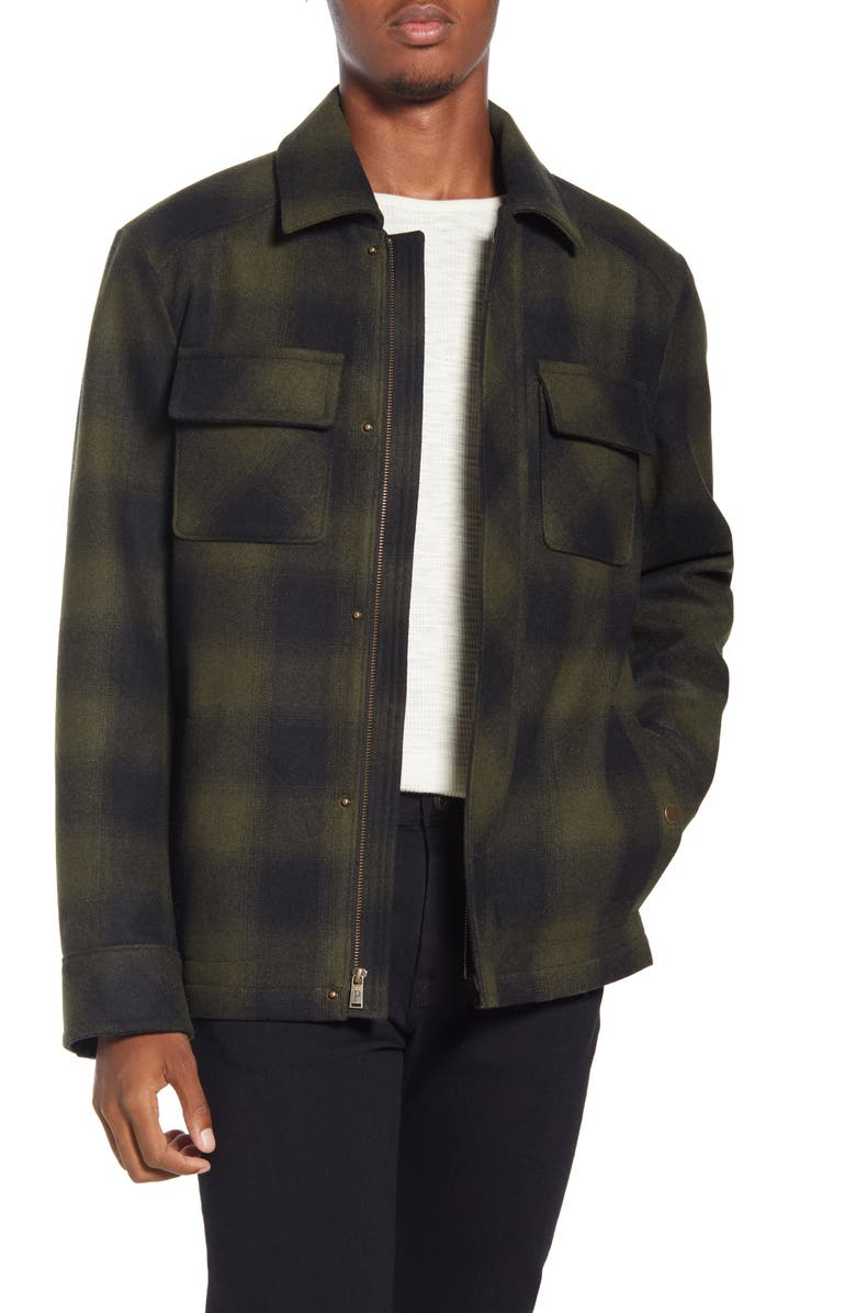 PENDLETON Boulder Ombré Check Water Repellent Jacket, Main, color, OLIVE/ BLACK OMBRE