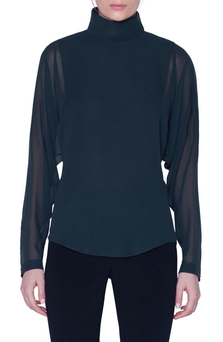 AKRIS Drape Back Silk Georgette Blouse, Main, color, PINE