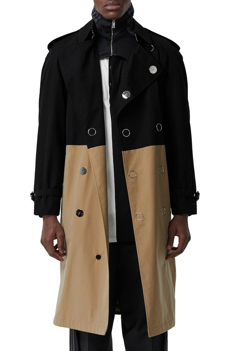BURBERRY Double Breasted Colorblock Trench Coat, Main, color, BLACK