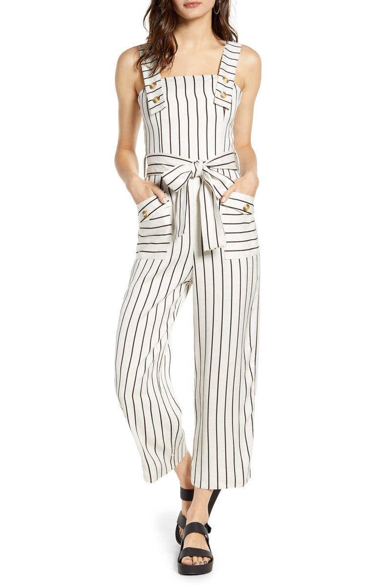 TOPSHOP Stripe Tie Waist Wide Leg Crop Linen Blend Jumpsuit, Main, color, IVORY MULTI