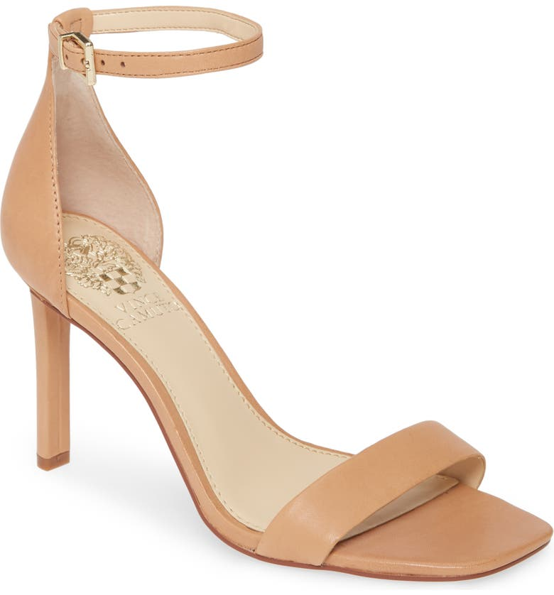 VINCE CAMUTO Lauralie Ankle Strap Sandal, Main, color, SAND DUNE LEATHER
