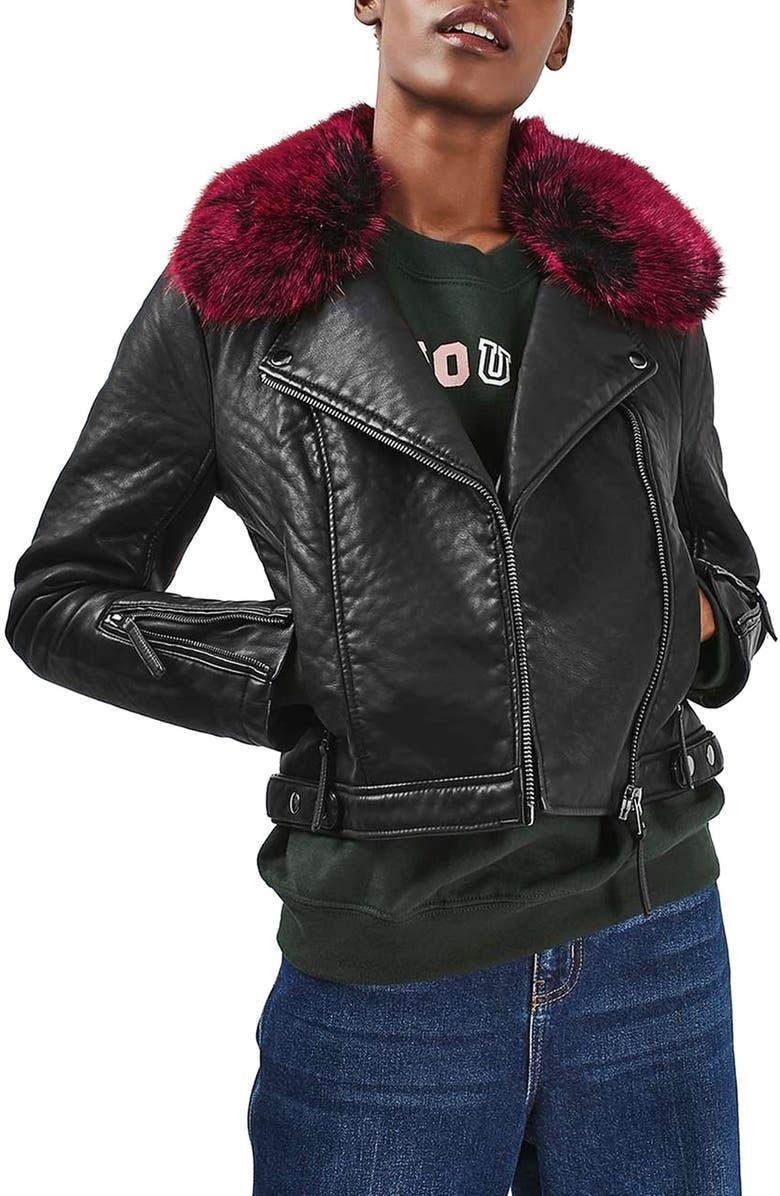 TOPSHOP 'Honey' Faux Fur Collar Faux Leather Moto Jacket, Main, color, 001