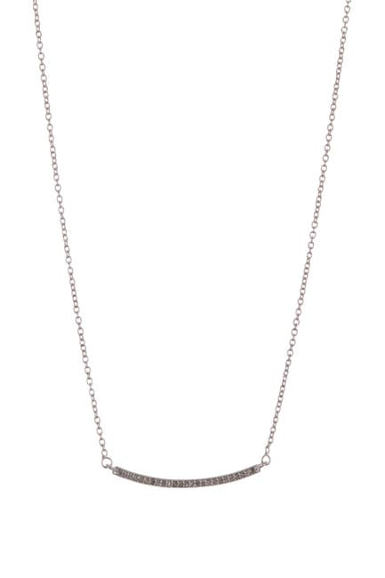 Image of ADORNIA Fine Mercer Sterling Silver Pave Diamond Curved Bar Pendant Necklace