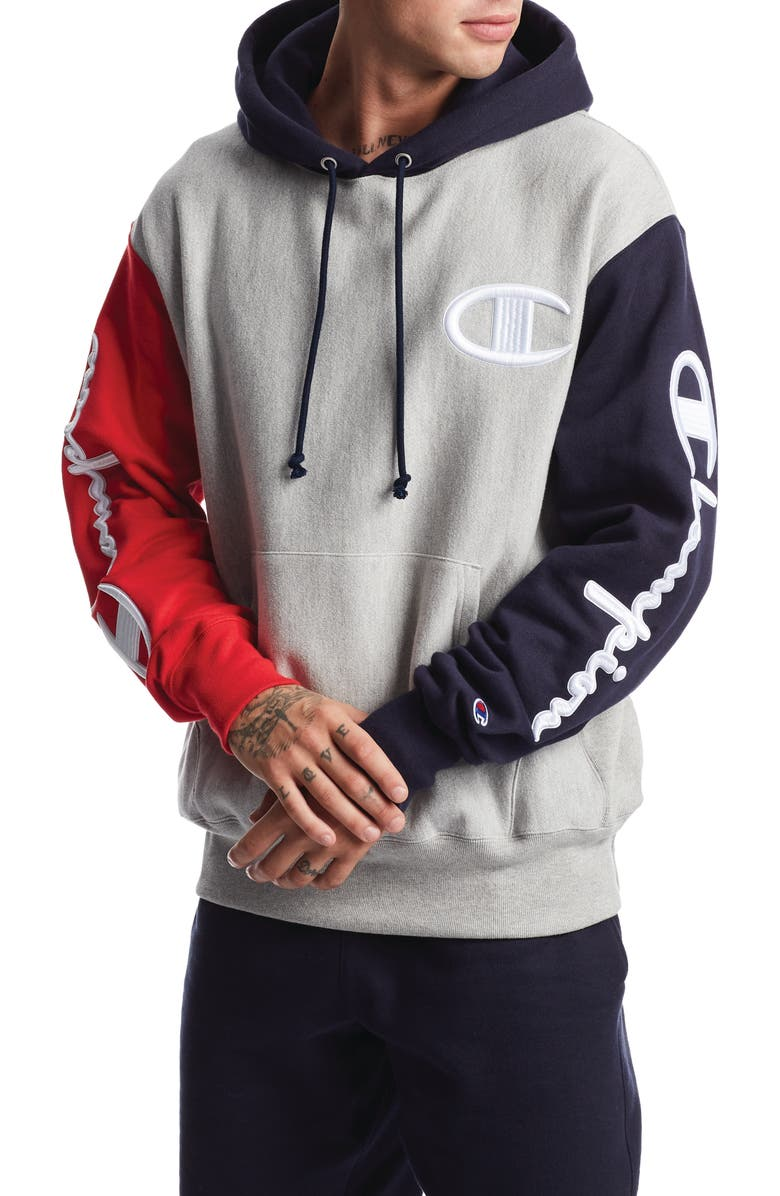 CHAMPION Reverse Weave<sup>®</sup> Colorblock Hoodie, Main, color, 001