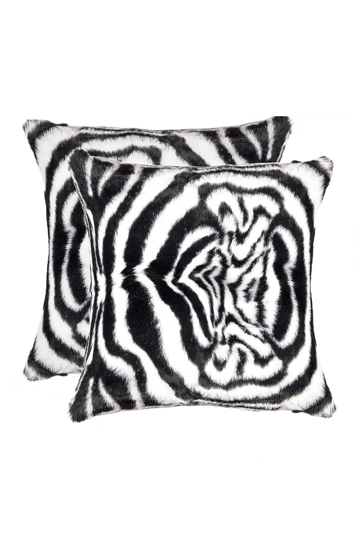"Image of LUXE Belton Faux Fur Pillow - Set of 2 - 18"" x 18"" - Denton Zebra Black/White"