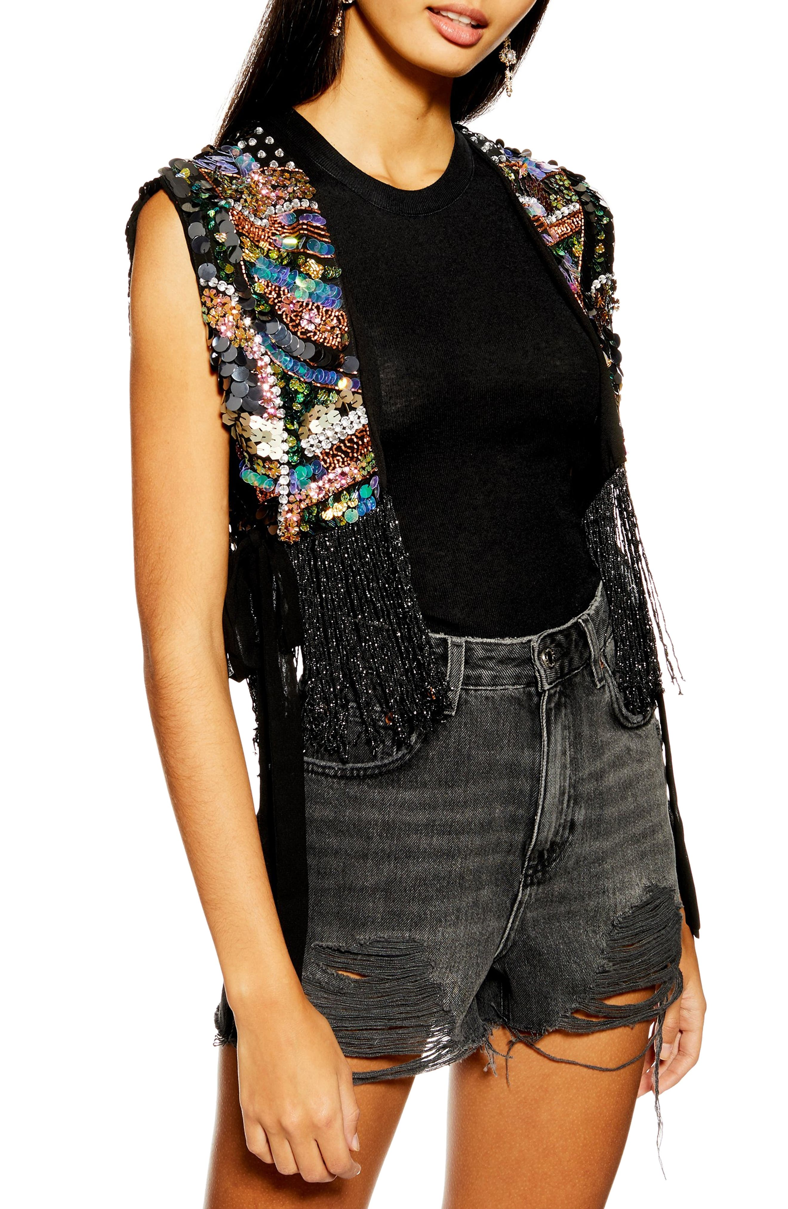 Bead Fringe Vest, Main, color, GUNMETAL MULTI