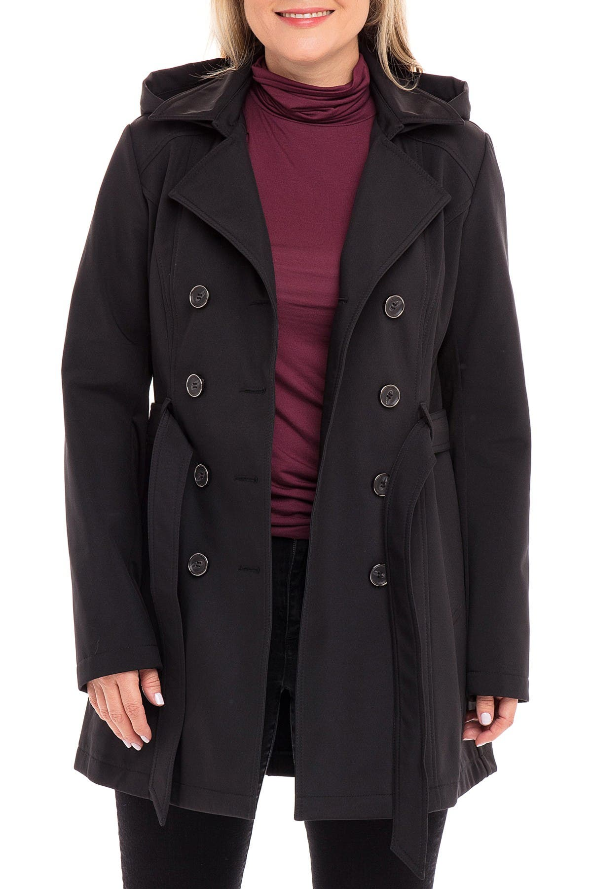 Image of Sebby Belted Soft Shell Trench Coat