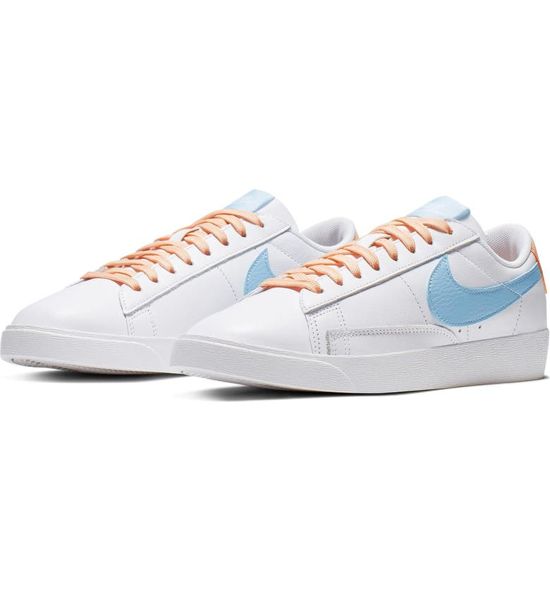 NIKE Blazer Low LE Basketball Shoe, Main, color, WHITE/ PSYCHIC BLUE/ SUNSET