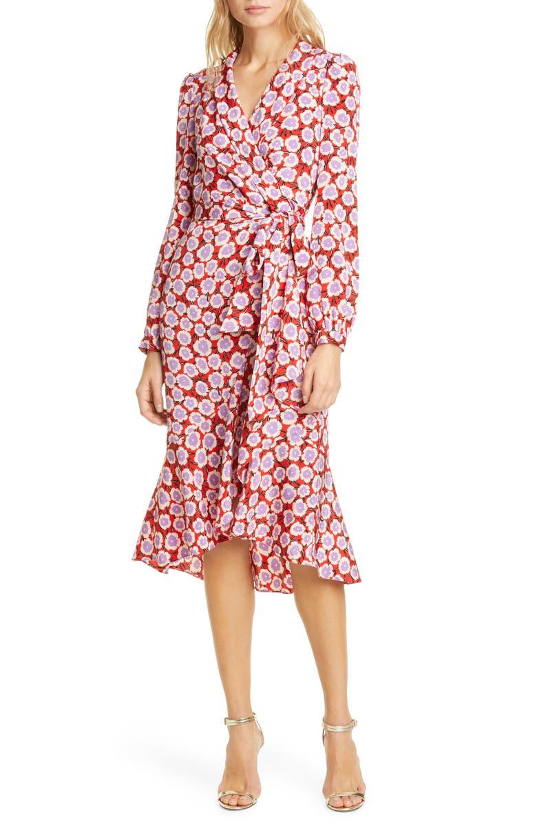 DVF Carla Two Floral Long Sleeve Silk Wrap Dress, Main, color, DAISIES POINSETTIA