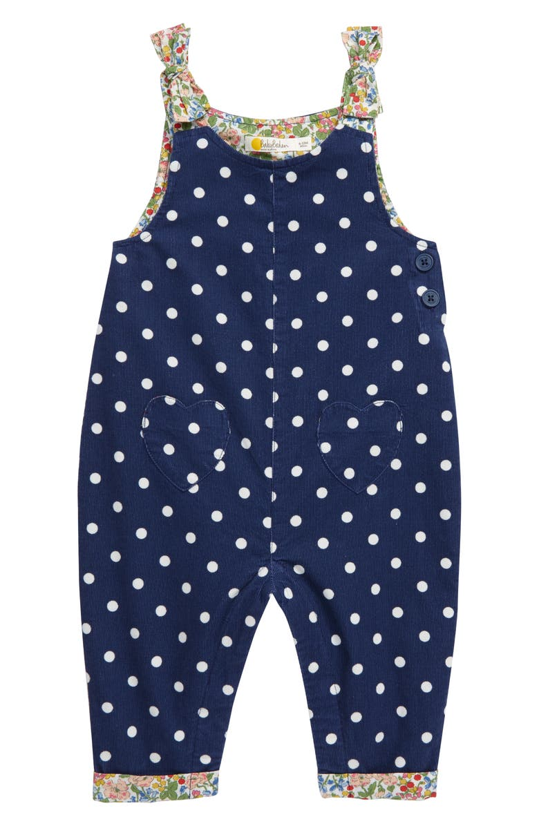 MINI BODEN Polka Dot Corduroy Dungaree Overalls, Main, color, COLLE BLUE/ IVORY SPOT