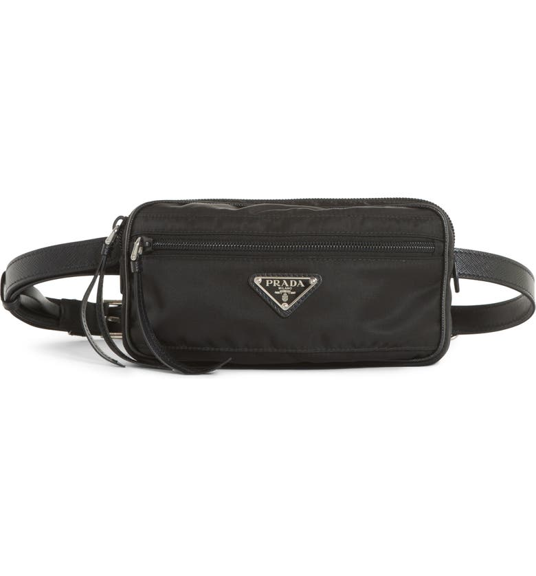 PRADA Small Nylon Belt Bag, Main, color, NERO