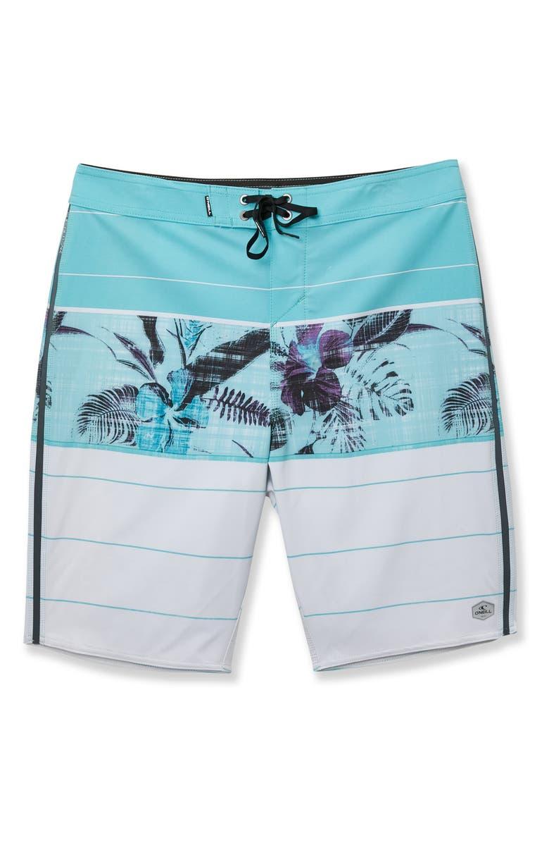 O'NEILL Sneakyfreak Fiori Board Shorts, Main, color, AQUA
