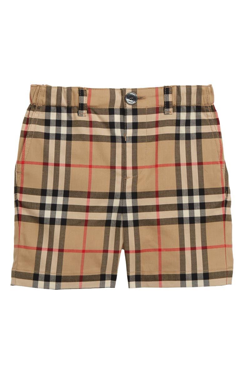 BURBERRY Sean Check Print Shorts, Main, color, ARCHIVE BEIGE  CHK