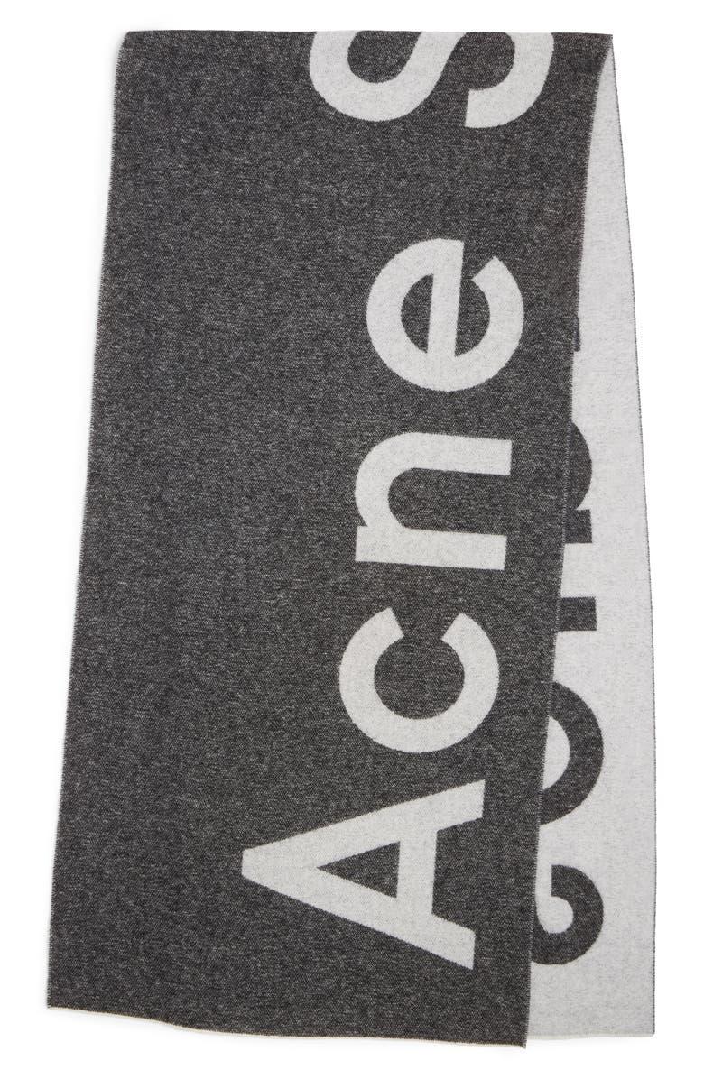 ACNE STUDIOS Toronty Logo Scarf, Main, color, BLACK