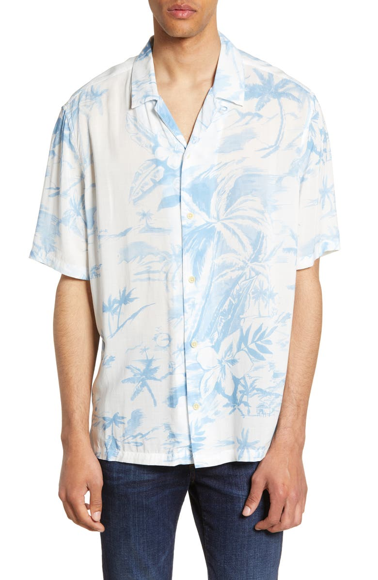 ALLSAINTS Seabreeze Slim Fit Camp Shirt, Main, color, 100