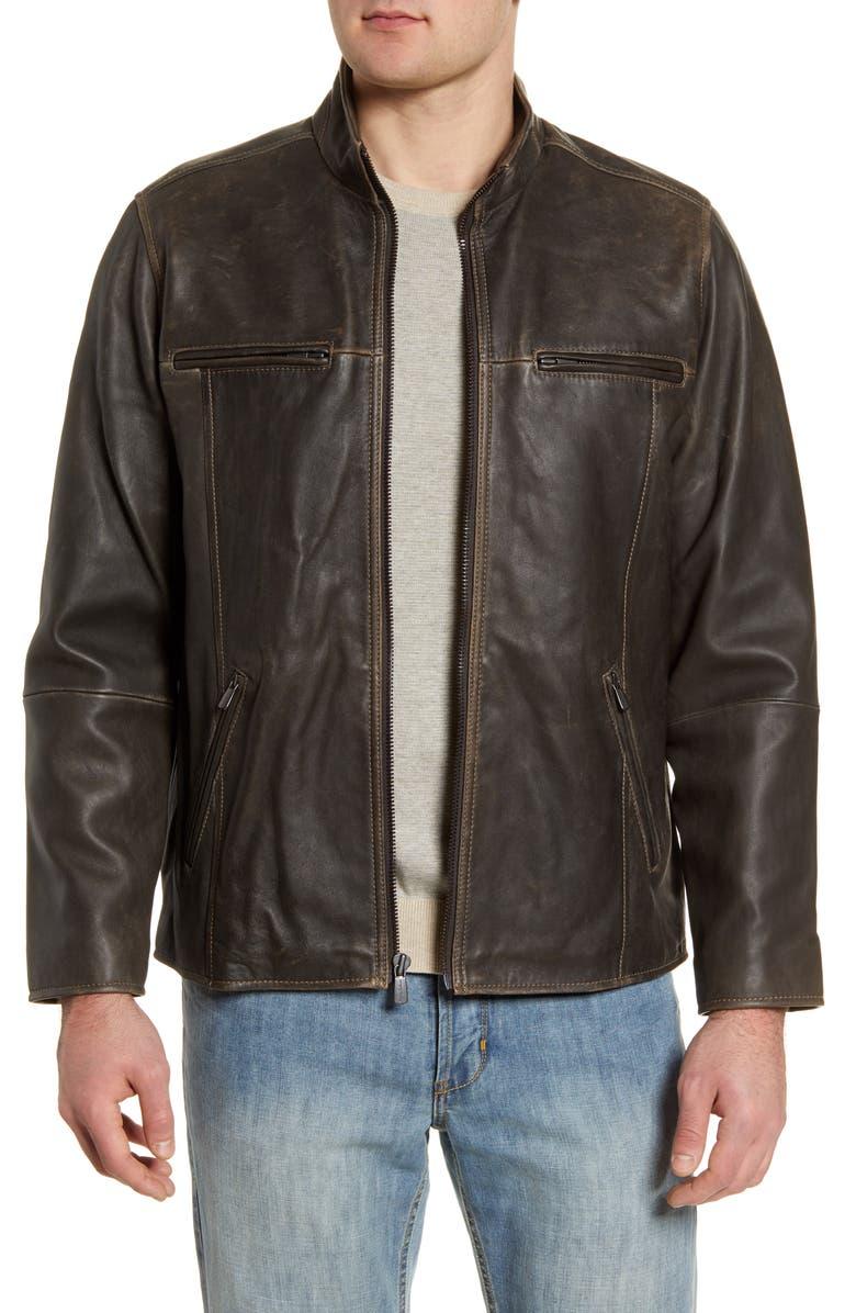 TOMMY BAHAMA Lambskin Leather Jacket, Main, color, 001