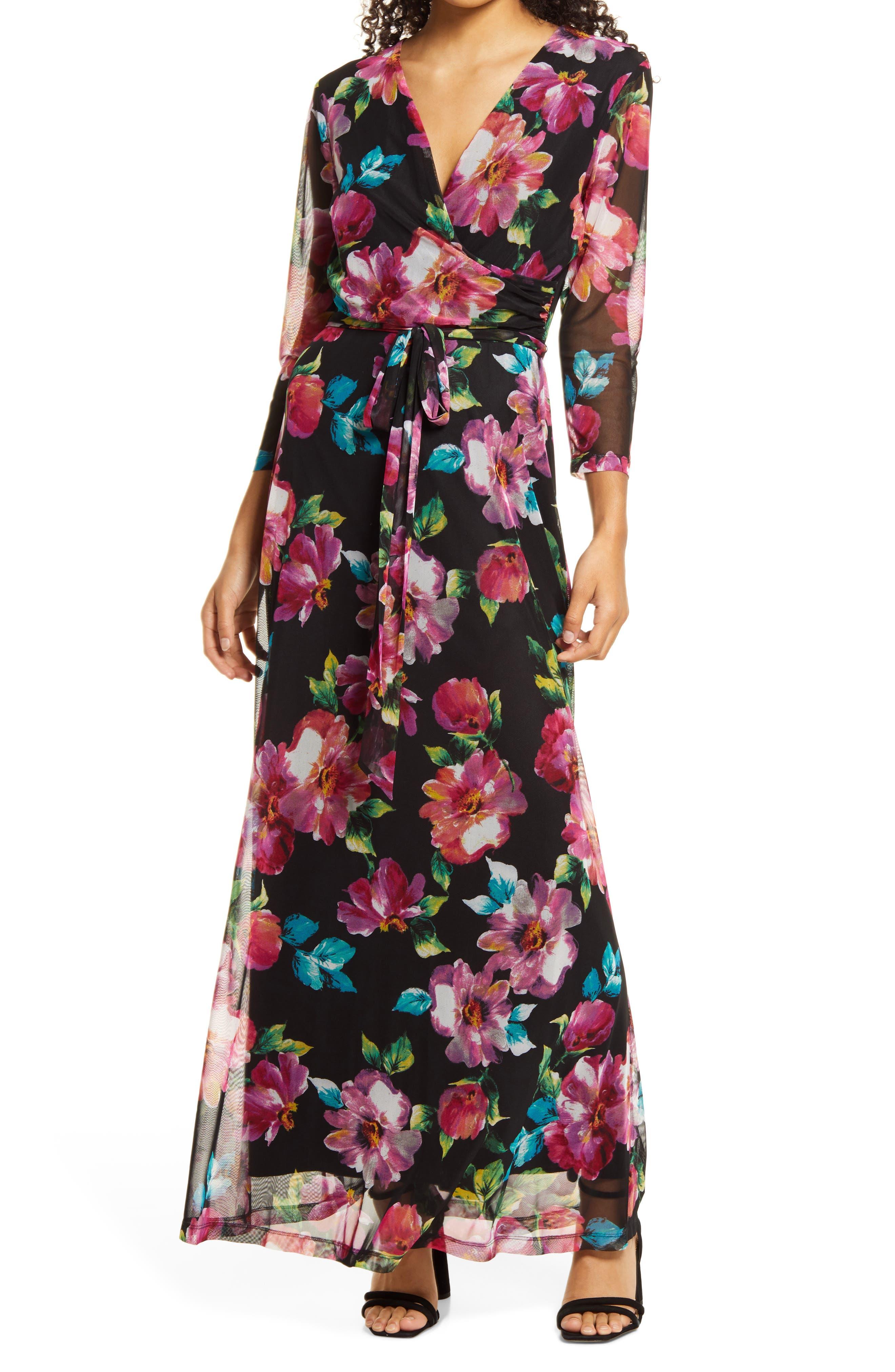 Floral Long Sleeve Waist Tie Dress