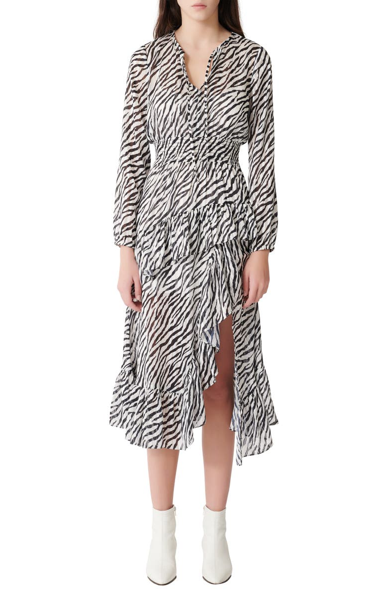 MAJE Ribou Zebra Print Long Sleeve Dress, Main, color, BLACK / WHITE