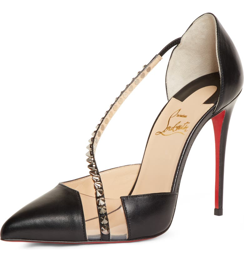 CHRISTIAN LOUBOUTIN Spike Cross Strap Pump, Main, color, BLACK