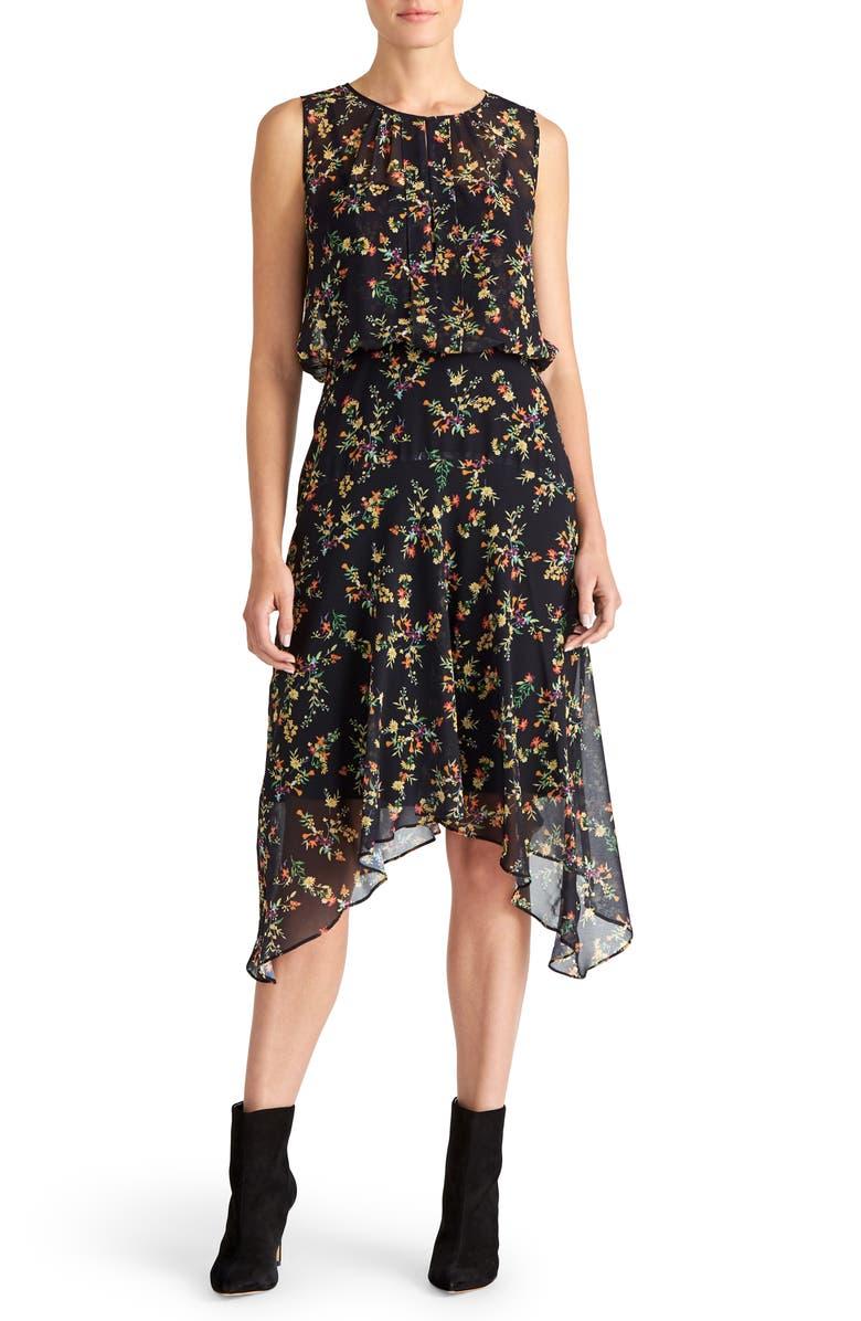 RACHEL ROY COLLECTION Floral Blouson Dress, Main, color, BLACK