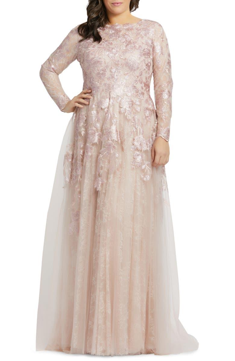 MAC DUGGAL Floral Lace Appliqué Long Sleeve Ballgown, Main, color, ROSE