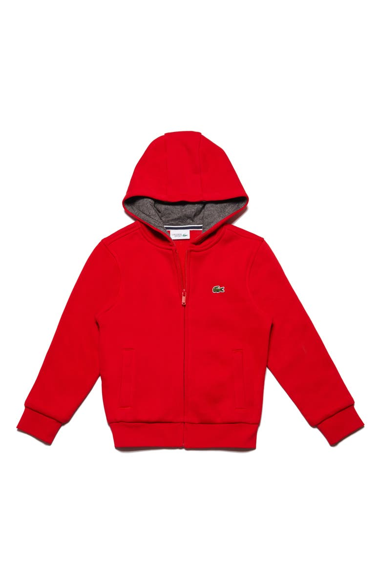 LACOSTE Sporty Fleece Full Zip Hoodie, Main, color, 601