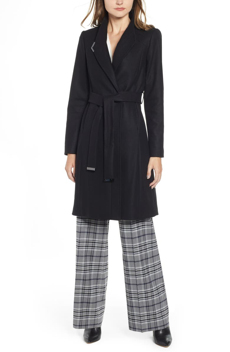TED BAKER LONDON Ellgenc Belted Wrap Coat, Main, color, BLACK